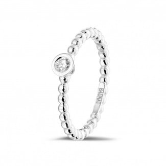 Stackable Rings - 0.07 carat diamond stackable beaded ring in white gold
