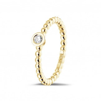 Originality - 0.07 carat diamond stackable beaded ring in yellow gold
