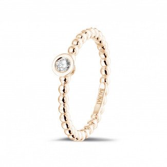 Classics - 0.07 carat diamond stackable beaded ring in red gold