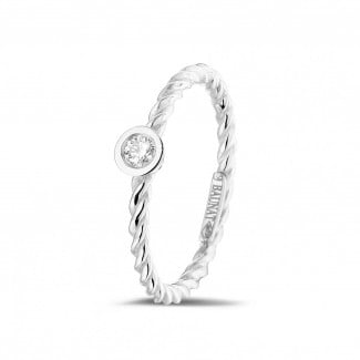 White Gold Diamond Rings - 0.07 carat diamond stackable twisted ring in white gold