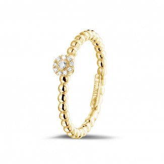Originality - 0.04 carat diamond stackable beaded ring in yellow gold
