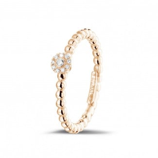 0.04 carat diamond stackable beaded ring in red gold