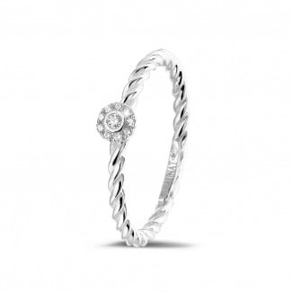 Halo ring - 0.04 carat diamond stackable twisted ring in white gold