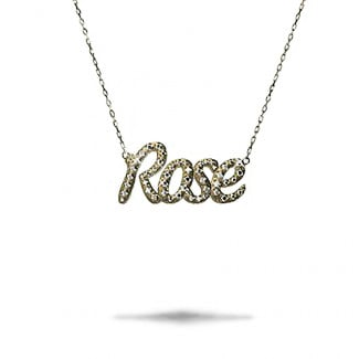 Yellow Gold Diamond Necklaces - Customized name pendant in 18Kt gold with round diamonds