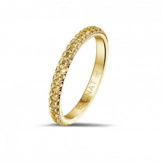 0.35 carat eternity ring (half set) in yellow gold with yellow diamonds