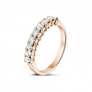 Red gold diamond wedding bands - 0.54 carat diamond eternity ring in red gold