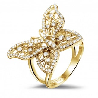 Yellow Gold - 0.75 carat diamond butterfly design ring in yellow gold