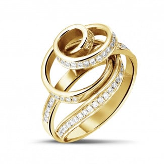 Dancing Lady collection - 0.85 carat diamond design ring in yellow gold