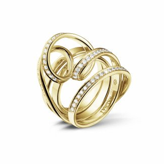 Artistic - 0.77 carat diamond design ring in yellow gold