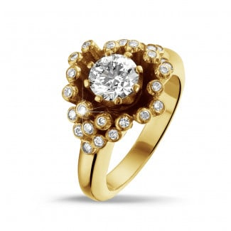 Yellow Gold - 0.90 carat diamond design ring in yellow gold