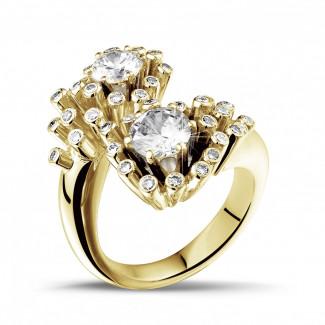 - 1.50 carat diamond Toi et Moi design ring in yellow gold
