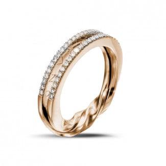 Red Gold Diamond Rings - 0.26 carat diamond design ring in red gold