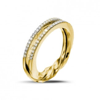 Yellow Gold Diamond Rings - 0.26 carat diamond design ring in yellow gold