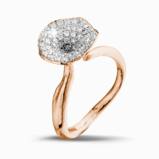 Red Gold Diamond Engagement Rings - 0.54 carat diamond design ring in red gold