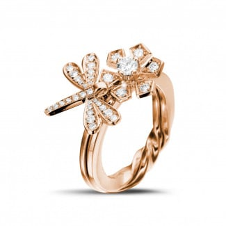 - 0.55 carat diamond flower & dragonfly design ring in red gold