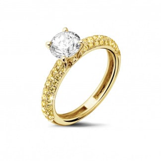 Yellow Gold Diamond Engagement Rings - 1.00 carat solitaire ring (half set) in yellow gold with yellow side diamonds