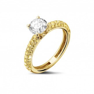 Classics - 1.00 carat solitaire ring (half set) in yellow gold with yellow side diamonds