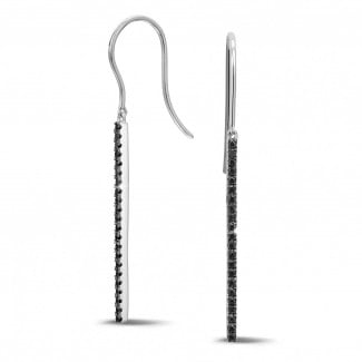 Earrings - 0.35 carat rod earrings in white gold with black diamonds