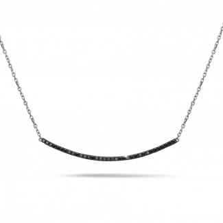 White Gold Diamond Necklaces - 0.30 carat fine necklace in white gold with black diamonds