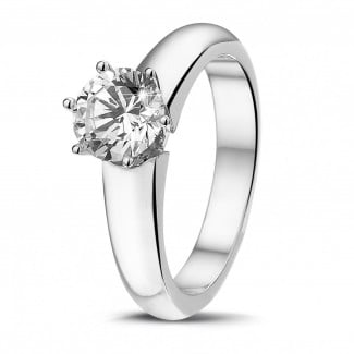 Classics - 1.00 carat solitaire diamond ring in white gold with six prongs