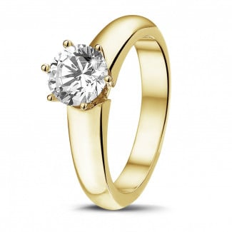 Engagement - 1.00 carat solitaire diamond ring in yellow gold with six prongs