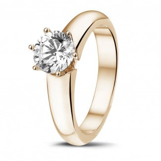Engagement - 1.00 carat solitaire diamond ring in red gold with six prongs