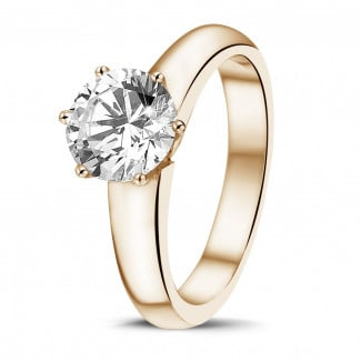 - 1.50 carat solitaire diamond ring in red gold with six prongs