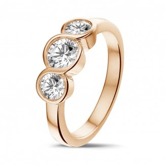 Red Gold Diamond Engagement Rings - 0.95 carat trilogy ring in red gold with round diamonds