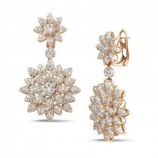 Red Gold Diamond Earrings - 3.65 carat diamond flower earrings in red gold