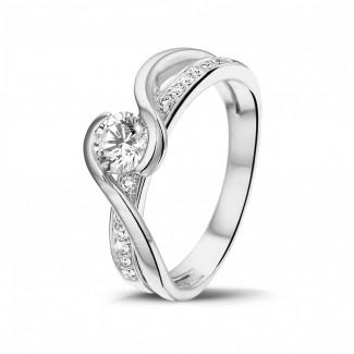 White Gold Diamond Rings - 0.50 carat solitaire diamond ring in white gold