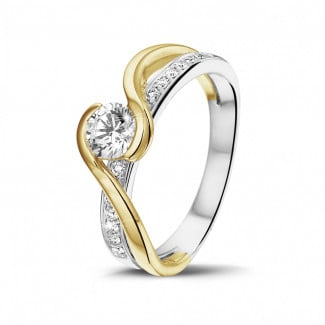 Classics - 0.50 carat solitaire diamond ring in white and yellow gold