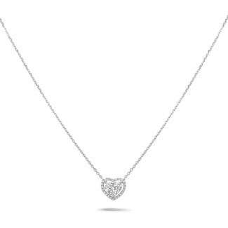New Arrivals - 0.65 carat heart-shaped necklace in white gold with round diamonds