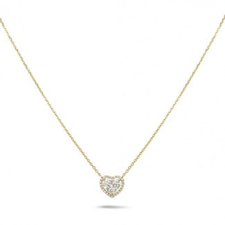 Yellow Gold Diamond Necklaces - 0.65 carat heart-shaped necklace in yellow gold with round diamonds