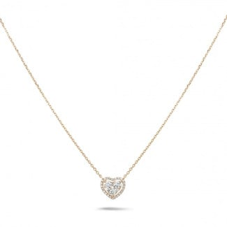 Red Gold Diamond Necklaces - 0.65 carat heart-shaped necklace in red gold with round diamonds