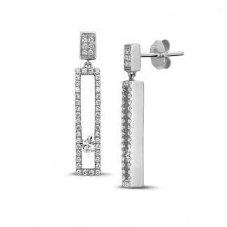 Earrings - 0.55 carat earrings in white gold with floating round diamonds