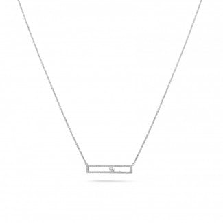 White Gold Diamond Necklaces - 0.30 carat necklace in white gold with a floating round diamond