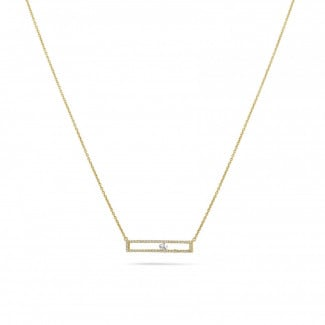Classics - 0.30 carat necklace in yellow gold with a floating round diamond