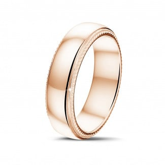 Classics - Men's ring with a slightly domed surface of 6.00 mm in red gold with milgrain