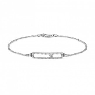 Bracelets - 0.30 carat bracelet in white gold with a floating round diamond