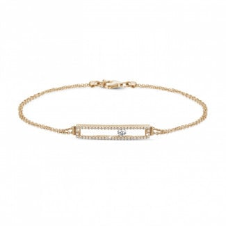 Bracelets - 0.30 carat bracelet in red gold with a floating round diamond