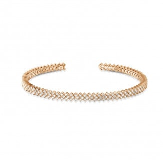 Red Gold Diamond Bracelets - 0.80 carat diamond bangle in red gold