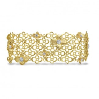 New Arrivals - 0.80 carat diamond design floral bracelet in yellow gold