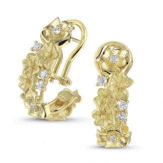 Yellow Gold - 0.50 carat diamond design floral earrings in yellow gold