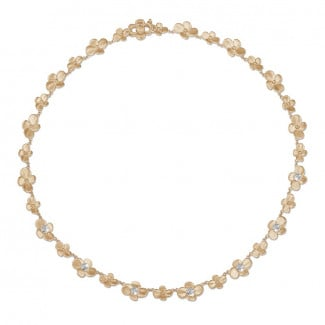 Red Gold - 0.45 carat diamond design floral necklace in red gold