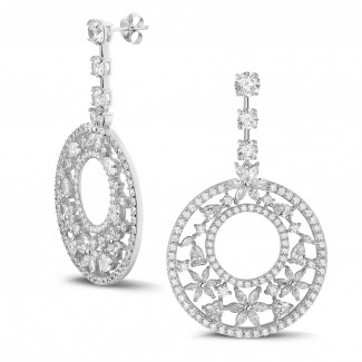 High Jewellery - 11.40 Ct earrings in white gold with round, marquise, pear and heart-shaped diamonds