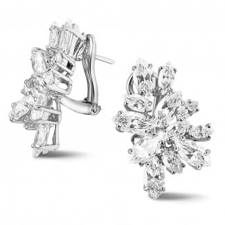 White Gold - 8.30 Ct earrings in white gold with marquise diamonds