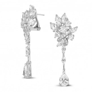 High Jewellery - 12.80 Ct earrings in white gold with round, marquise and pear-shaped diamonds
