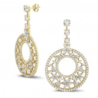 Yellow Gold Diamond Earrings - 12.00 Ct earrings in yellow gold with round, marquise, pear and heart-shaped diamonds