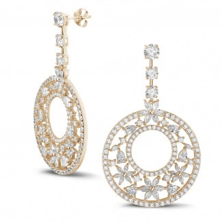 Red Gold - 12.00 Ct earrings in red gold with round, marquise, pear and heart-shaped diamonds