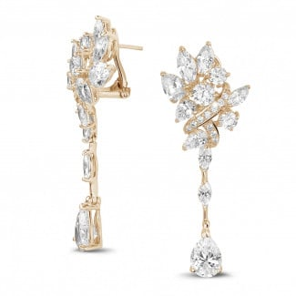 Red Gold Diamond Earrings - 10.50 Ct earrings in red gold with round, marquise and pear-shaped diamonds